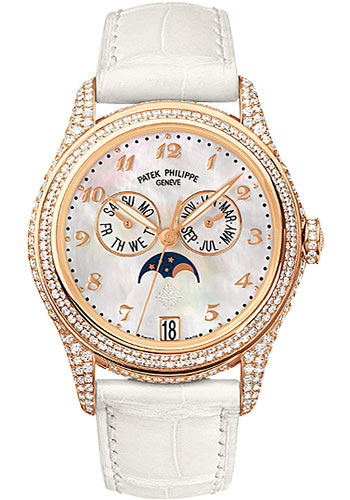 Patek Philippe Annual Calendar 37mm Automatic in Rose Gold with Diamonds Bezel & Lugs