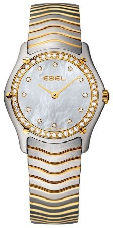 Ebel Classic Lady's 27mm Mini Size in Steel and Yellow Gold With Diamond Bezel