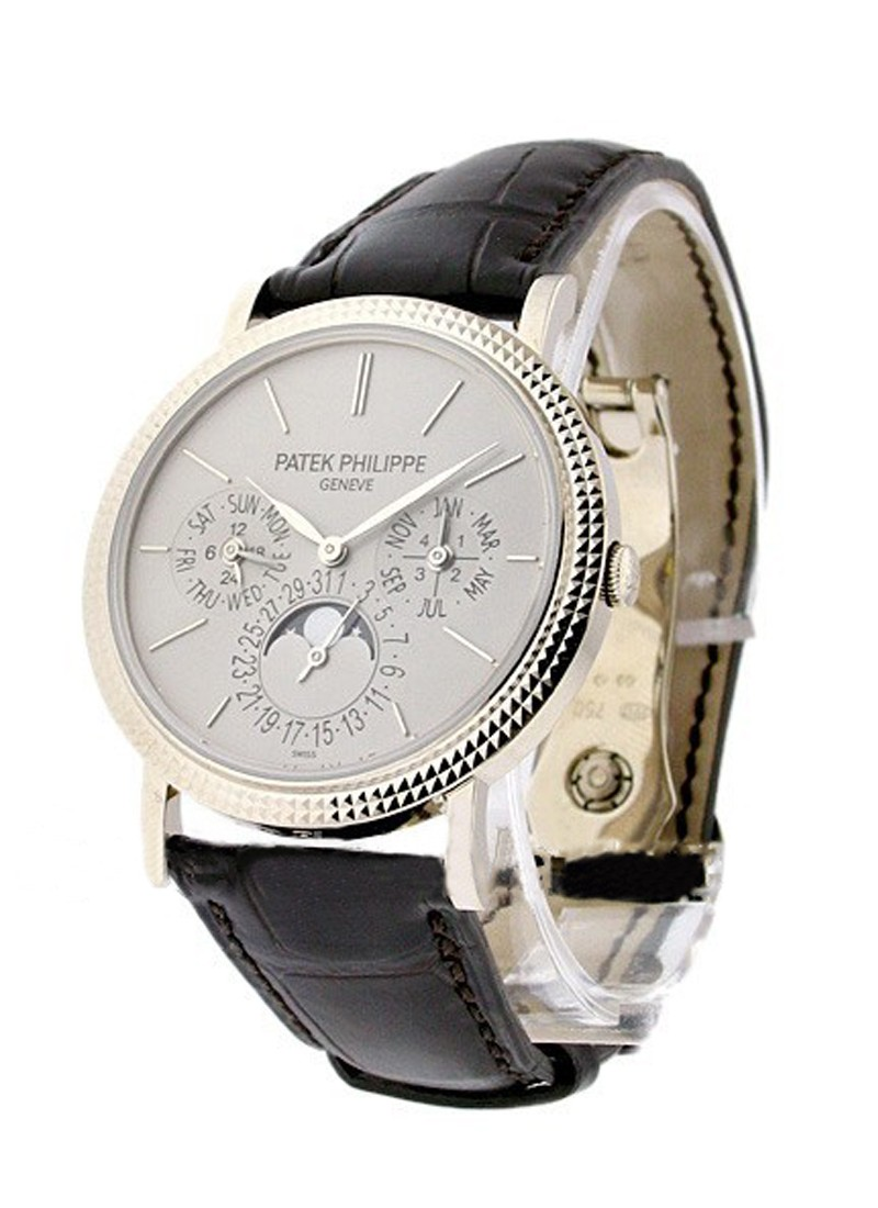 Patek Philippe Perpetual Calendar 5139  in White Gold with Hobnail Bezel