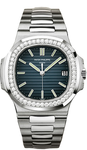 Patek Philippe Jumbo Nautilus 40mm Automatic in White Gold with Diamond Bezel