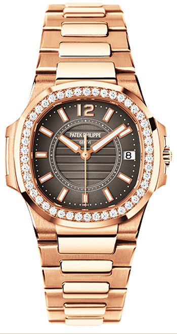 Patek Philippe Lady''s Nautilus 32mm Quartz in Rose Gold with Diamond Bezel