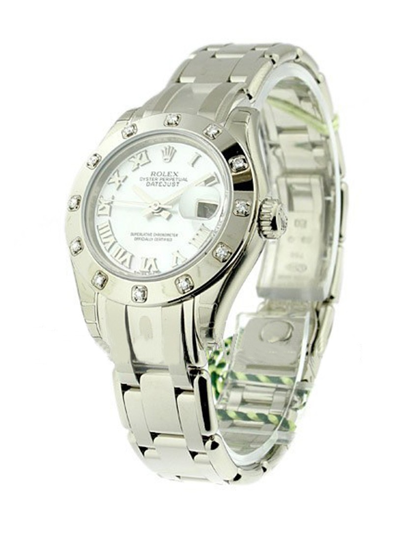 Rolex Unworn Lady's White Gold Masterpiece in White Gold with 12 Diamond Bezel