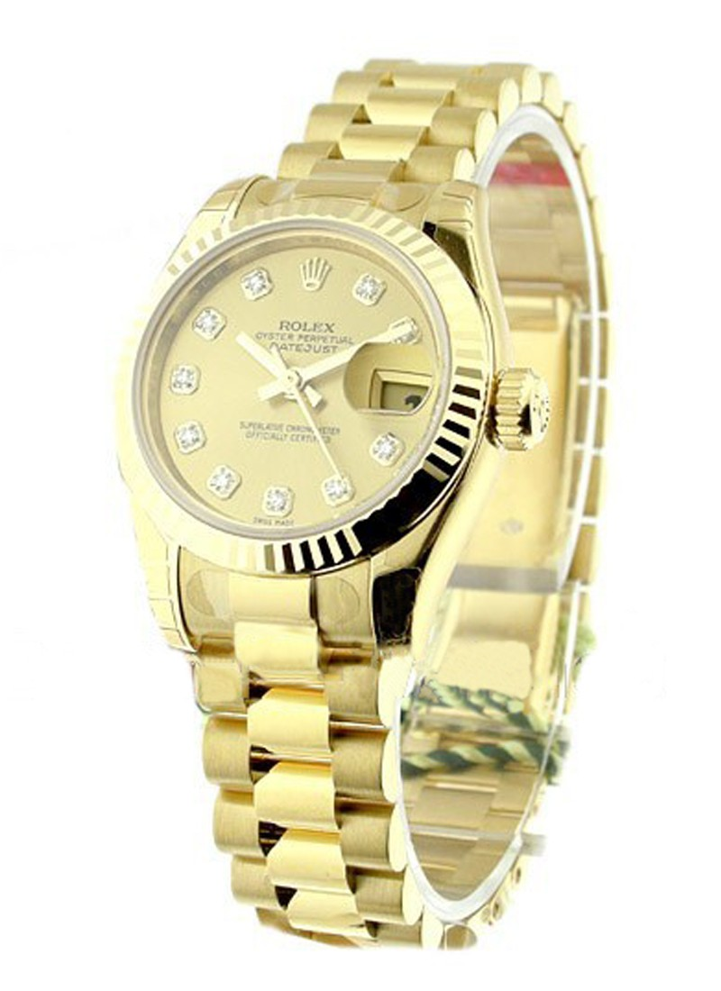 Rolex Unworn President 26mm Ladies in Yellow Gold with Fluted Bezel