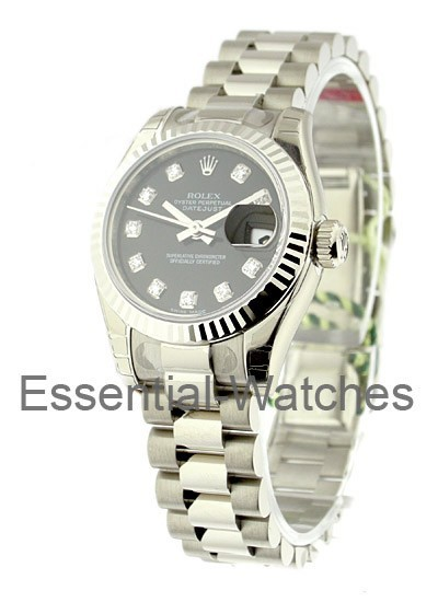 Rolex Unworn Lady's White Gold President with Fluted Bezel