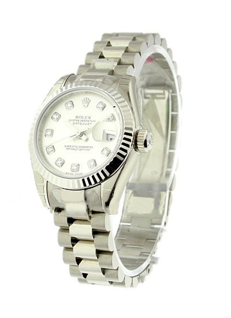 Rolex Unworn President 26mm in White Gold with Fluted Bezel