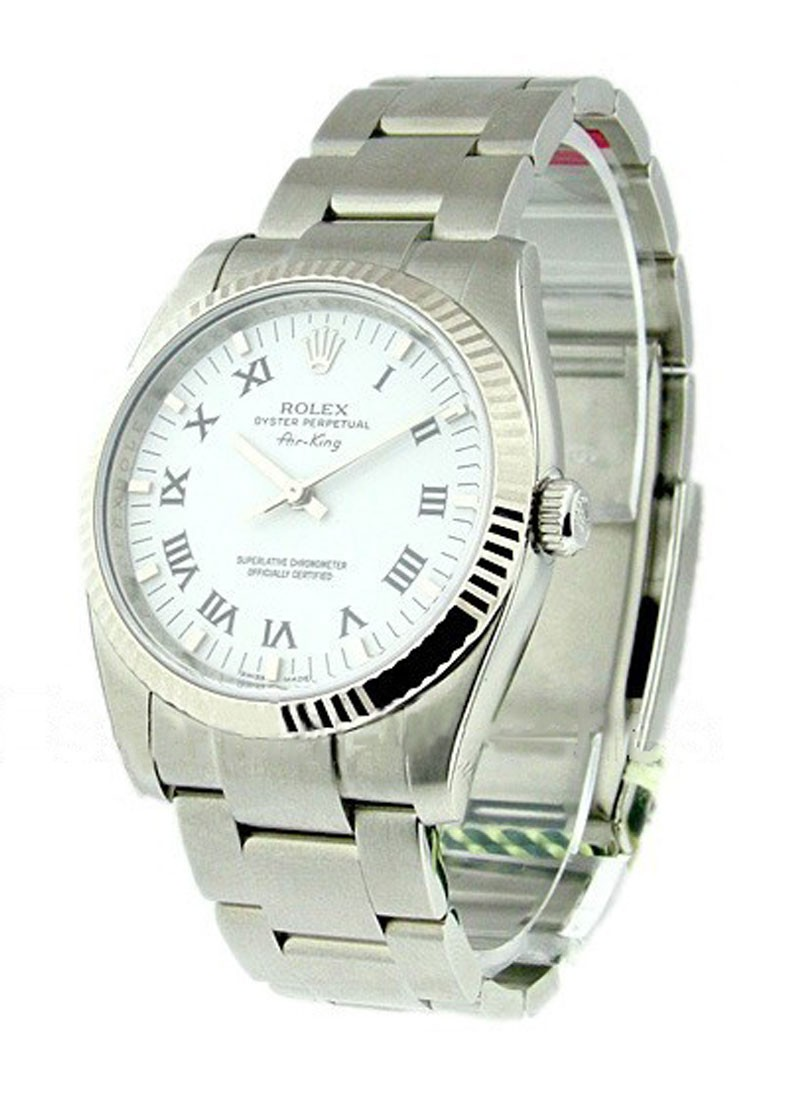 Rolex Unworn Air King in Steel with White Gold Fluted Bezel