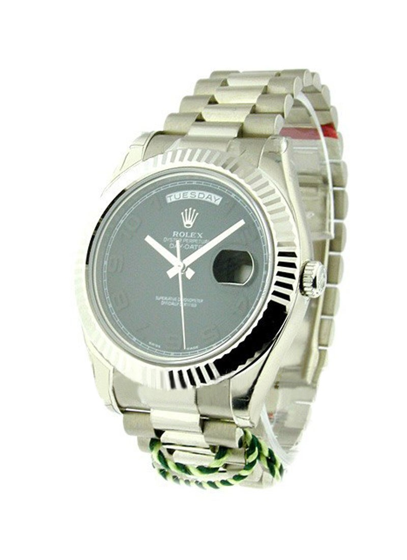 Rolex Unworn Men's Day Date II President in White Gold with Fluted Bezel