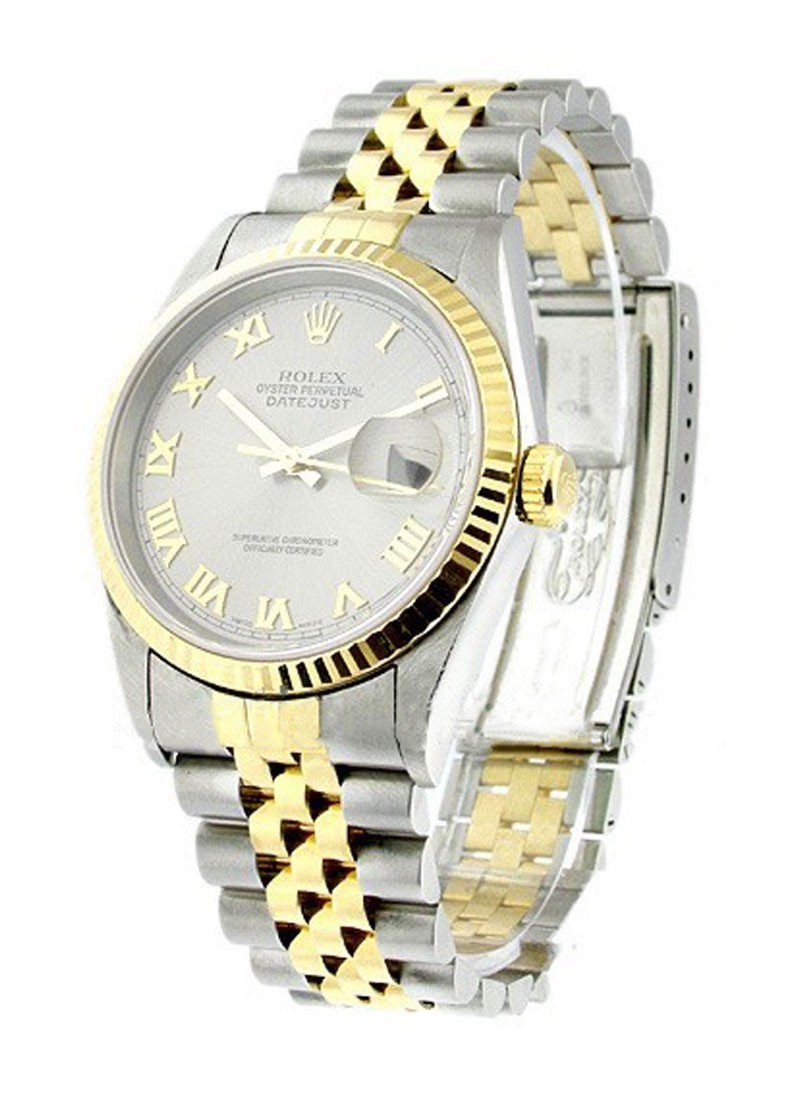 Rolex Used 2 -Tone Datejust 36mm with Yellow Gold Fluted Bezel