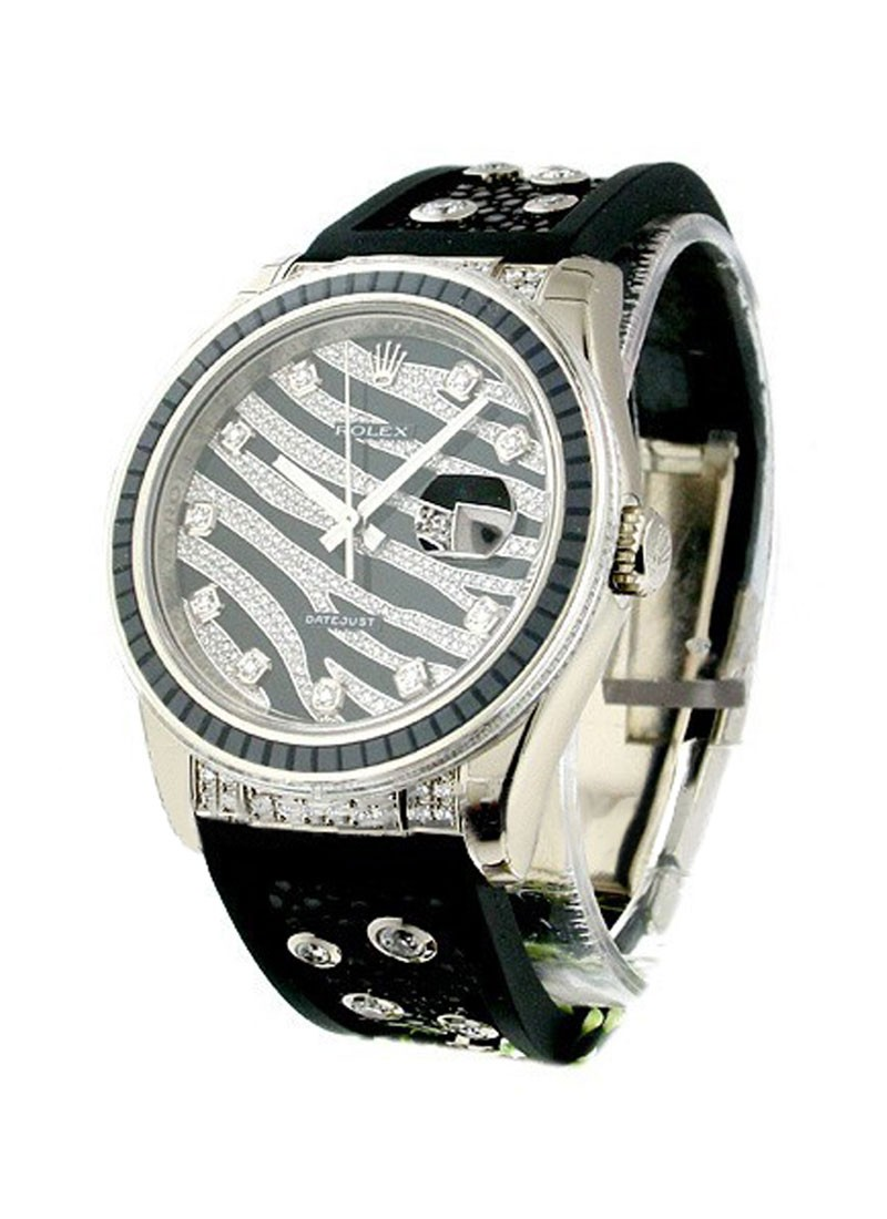 Rolex Unworn Zebra Special Edition   Royal Black 116199 in White Gold with Baguette Black Sapphires