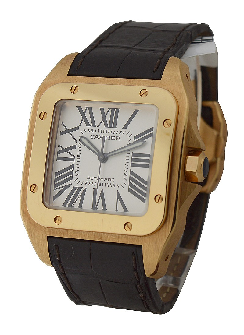 Cartier Santos 100   Large Size Automatic in Rose Gold