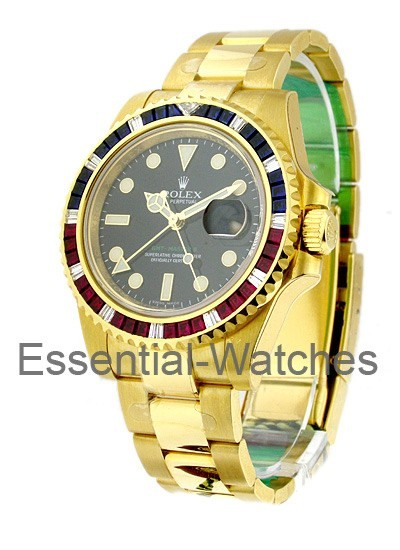 Rolex Unworn GMT Master II with Ruby and Sapphire Bezel 16748