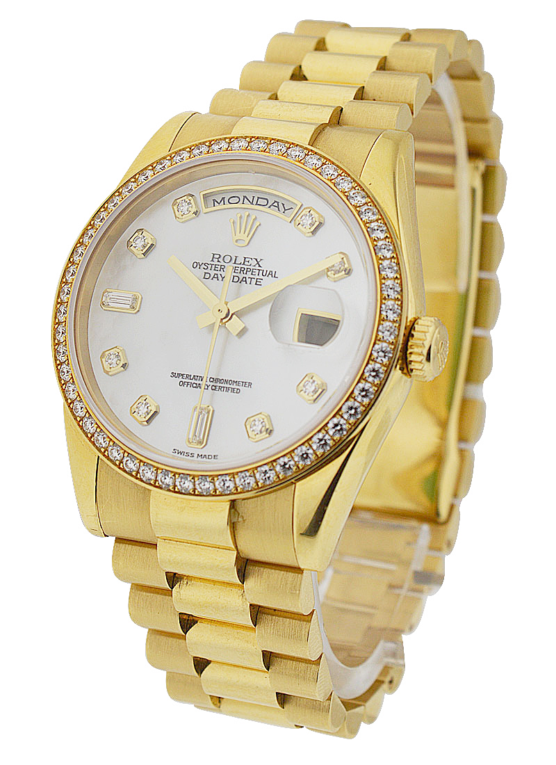 Pre-Owned Rolex Day-Date - President - 36mm - Yellow Gold - Diamonds Bezel