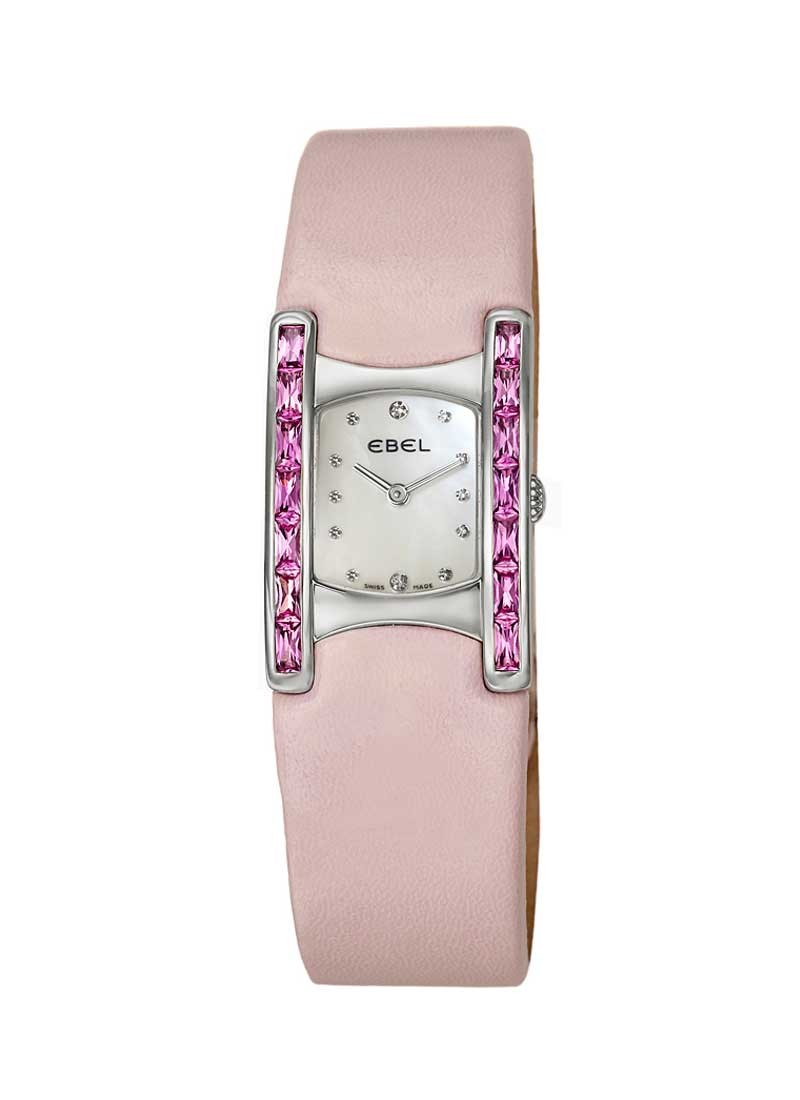 Ebel Beluga Manchette in Steel with Pink Diamond Bezel