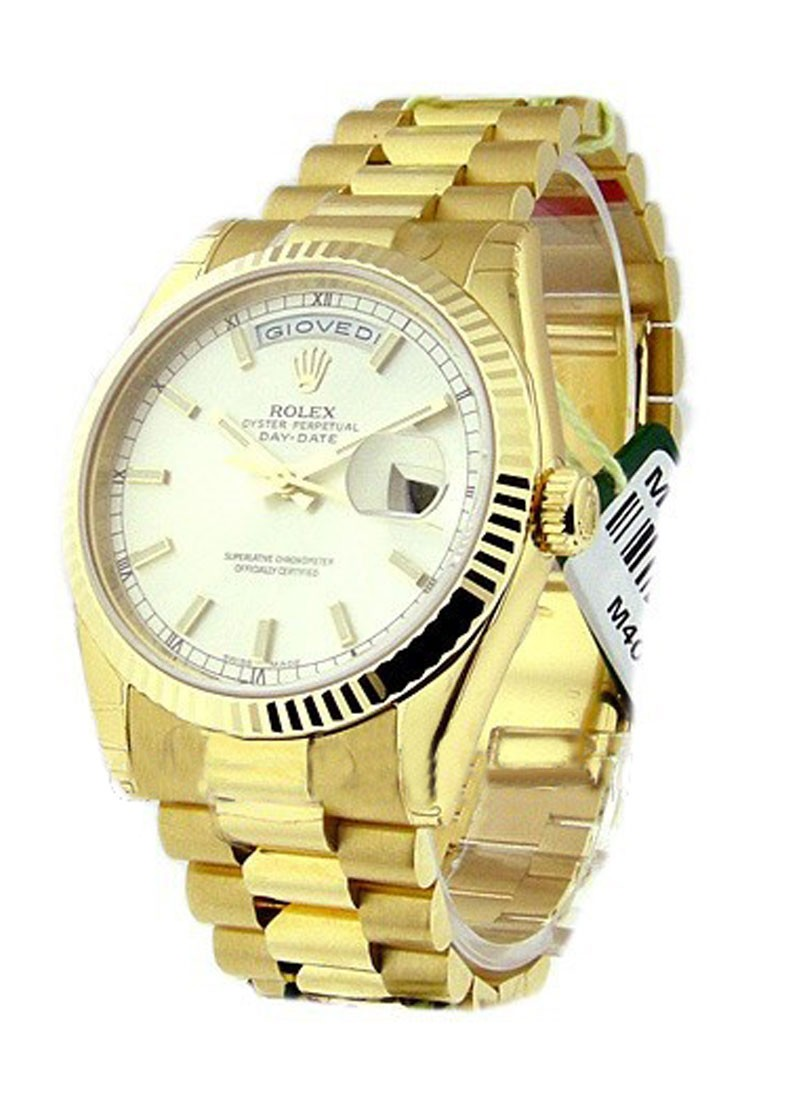 Rolex Unworn Men's Yellow Gold Day   Date President with Fluted Bezel