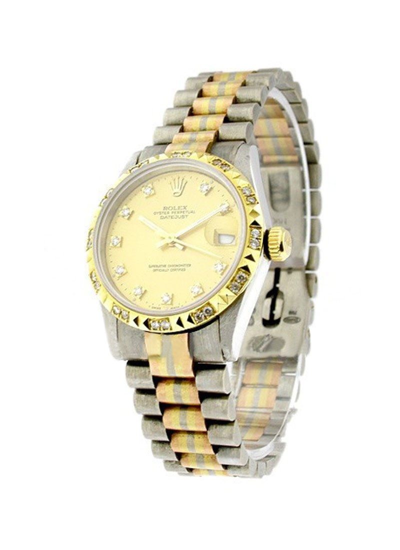 Rolex Used Mid Size Tridor President in White Gold with Diamond Bezel