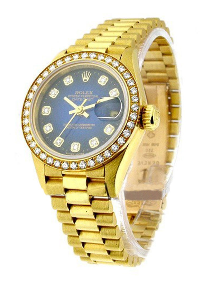 Rolex Used Lady's President   Yellow Gold with Diamond Bezel