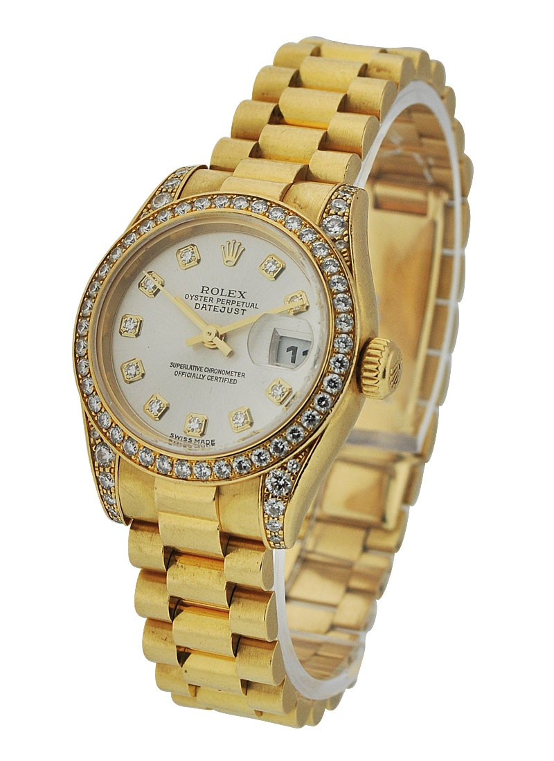 Rolex Used President Ladies with Diamond Bezel and Lugs