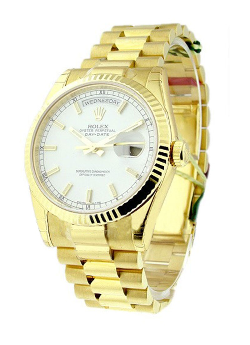 Rolex Unworn President  Day Date 36mm in Yellow Gold with Fluted Bezel