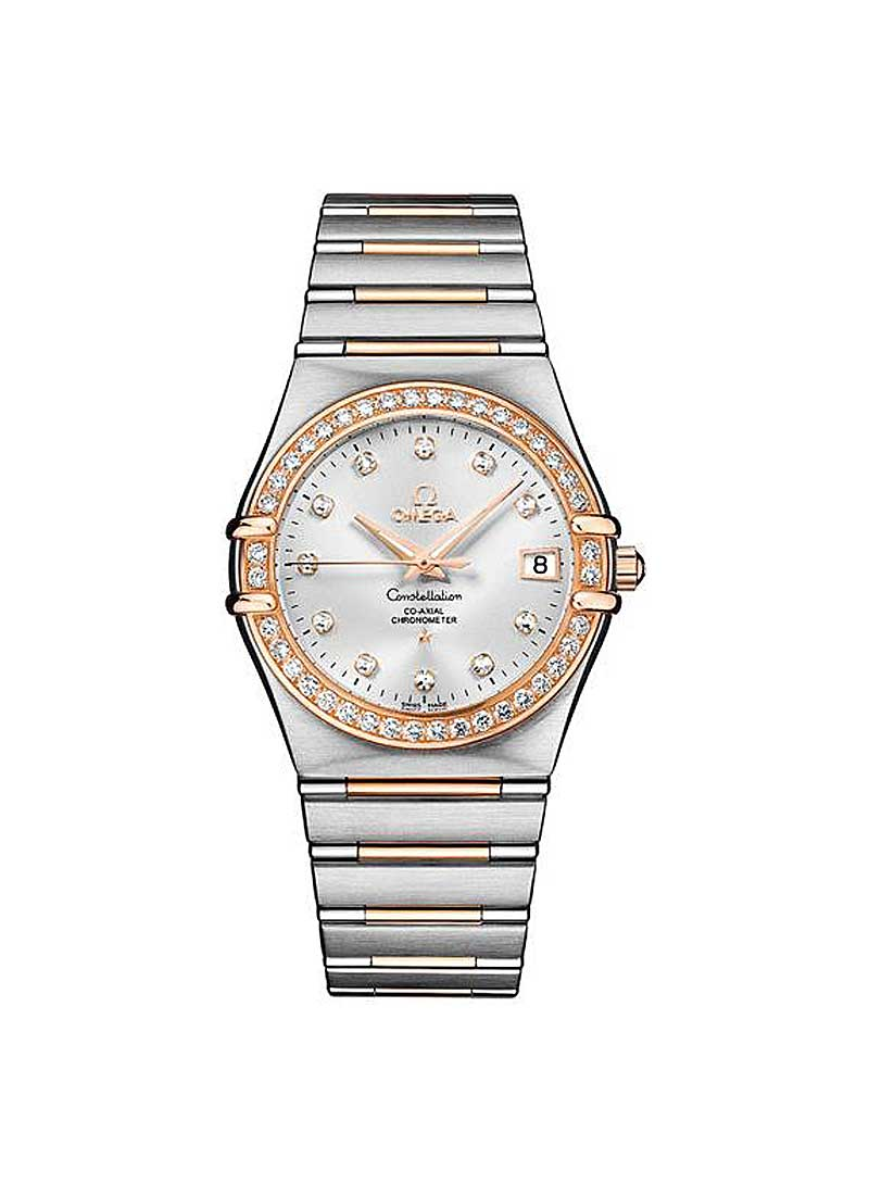 Omega Constellation Classic Co-Axial in Steel and Rose Gold with Diamond Bezel