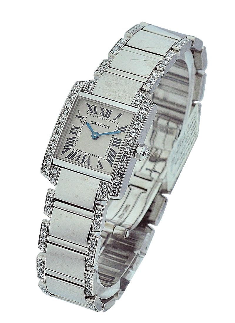 Cartier Tank Francaise Small Size in White Gold with Diamond Bezel