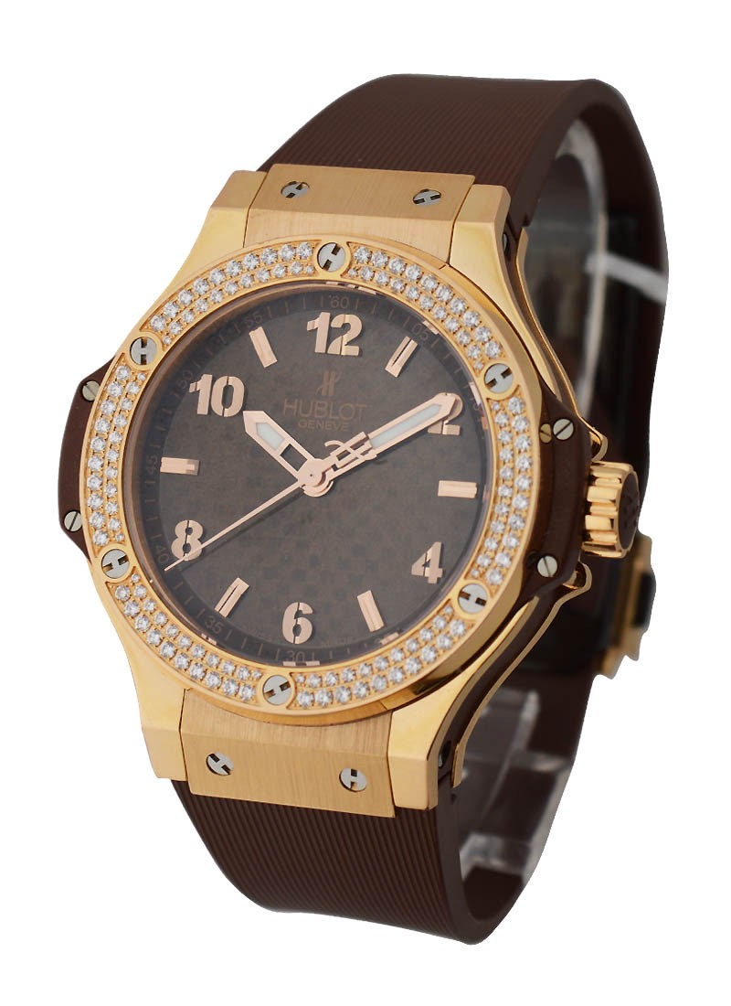 Hublot Big Bang Cappuccino in Rose Gold with 2 Row Diamond Bezel