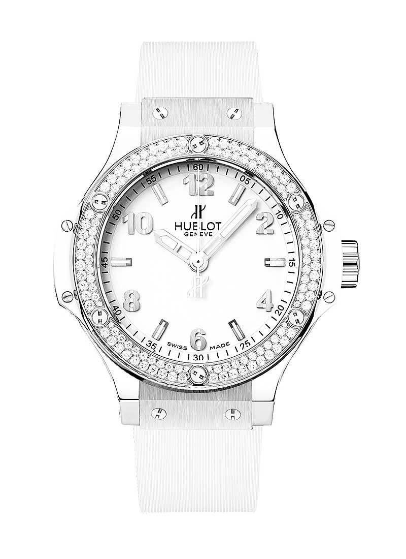 Hublot 38mm Big Bang St. Moritz All White in Steel with Baguette Diamond Bezel