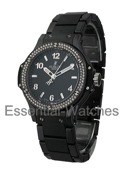 Hublot Big Bang 38mm Black Magic in Black Ceramic with Diamond Bezel