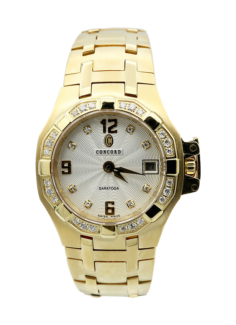 Concord Saratoga Lady's Mini in Yellow Gold with Diamond Bezel