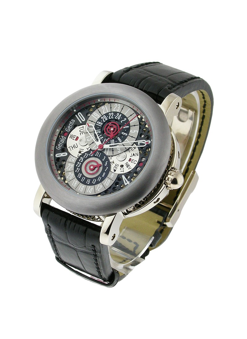 Gerald Genta Arena Perpetual Calendar GMT 45mm Automatic in White Gold with Tantalum bezel