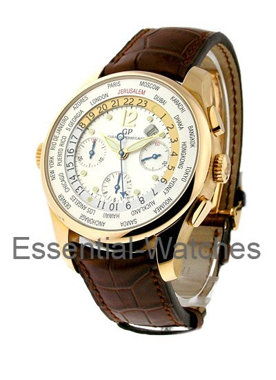 Girard Perregaux World Time Chronograph Jerusalem Dial Rose Gold