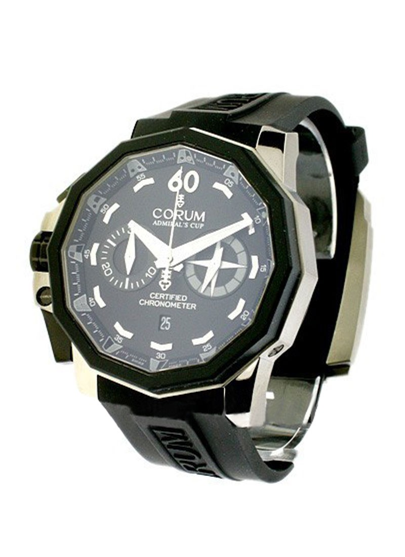 Corum Admirals Cup  Chronograph Left Handed Series in Black PVD Steel with Rubber Bezel