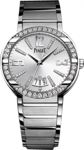 Piaget Polo Large in White Gold with Diamond Bezel