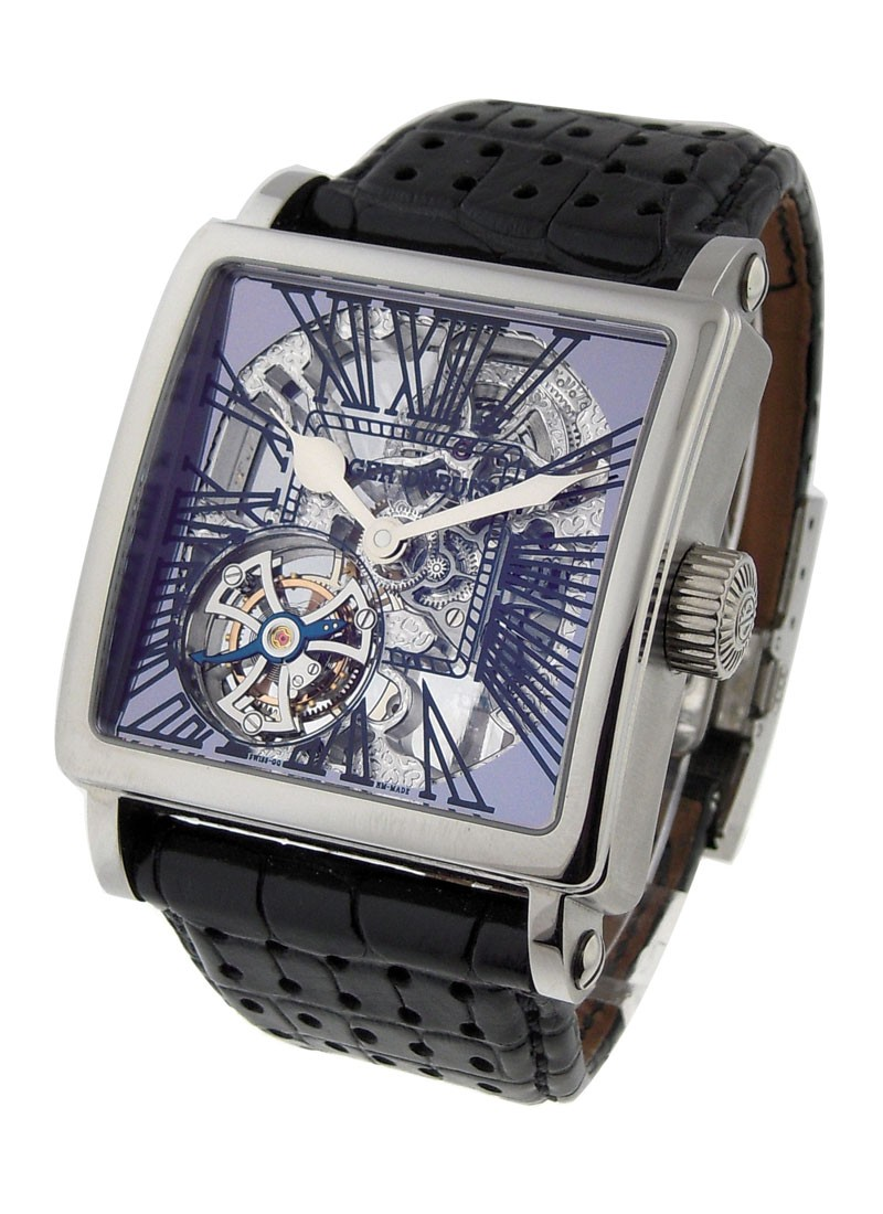 Roger Dubuis Golden Square  Skeleton Tourbillon in White Gold