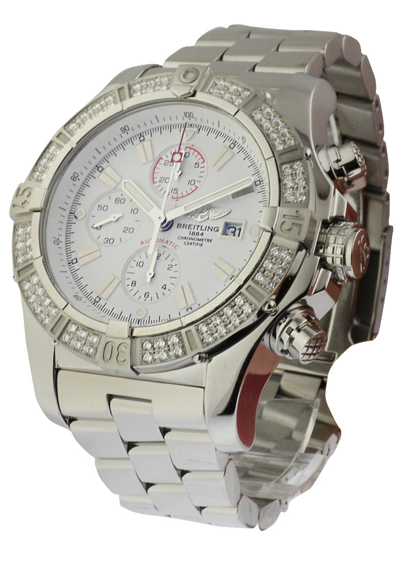 Breitling Super Avenger Chronograph   2 Row Aftermarket Diamond Bezel