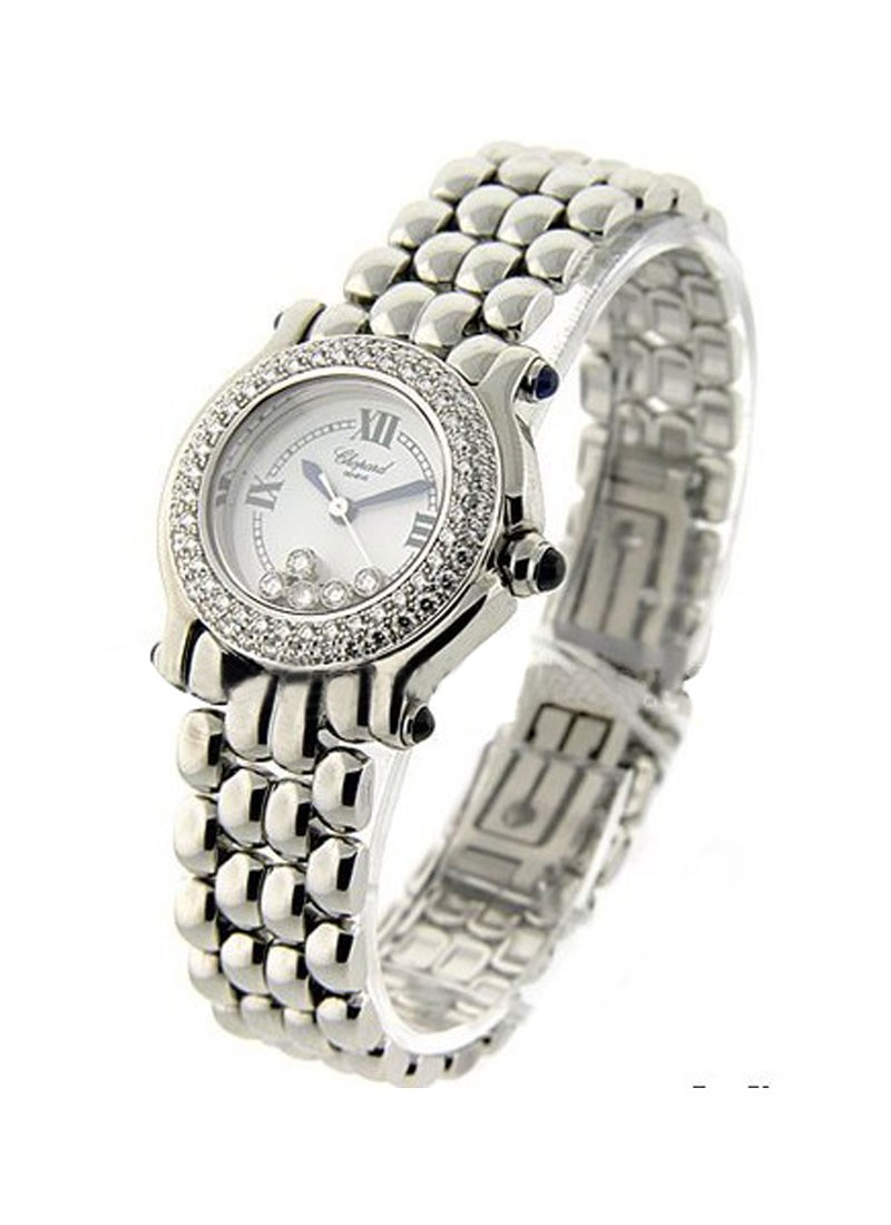 Chopard Classic Happy Sport Round in Steel  with 2 Row Diamond Bezel