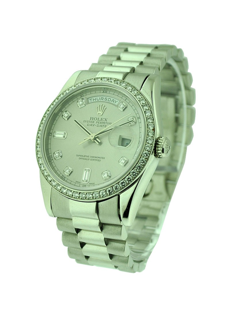 Rolex Used White Gold Men''s President with Factory Diamond Bezel