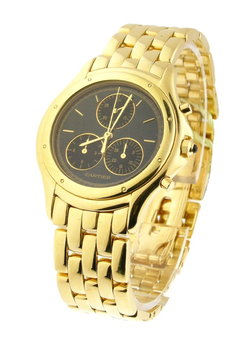 Cartier Cougar Chronograph in Yellow Gold  with Black Dial