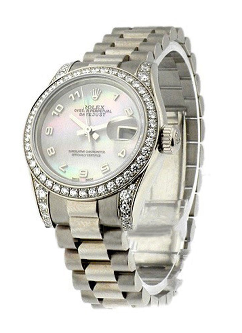Rolex Used Ladies President in White Gold with Diamond Bezel