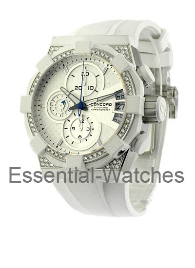 Concord C1 Chronograph White with Diamond Case and Bezel