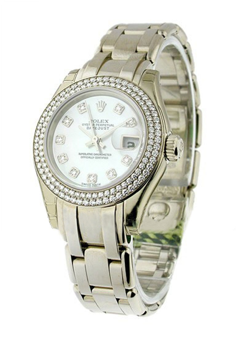 Rolex Unworn Lady's Masterpiece in White Gold with 2 Row Diamond Bezel
