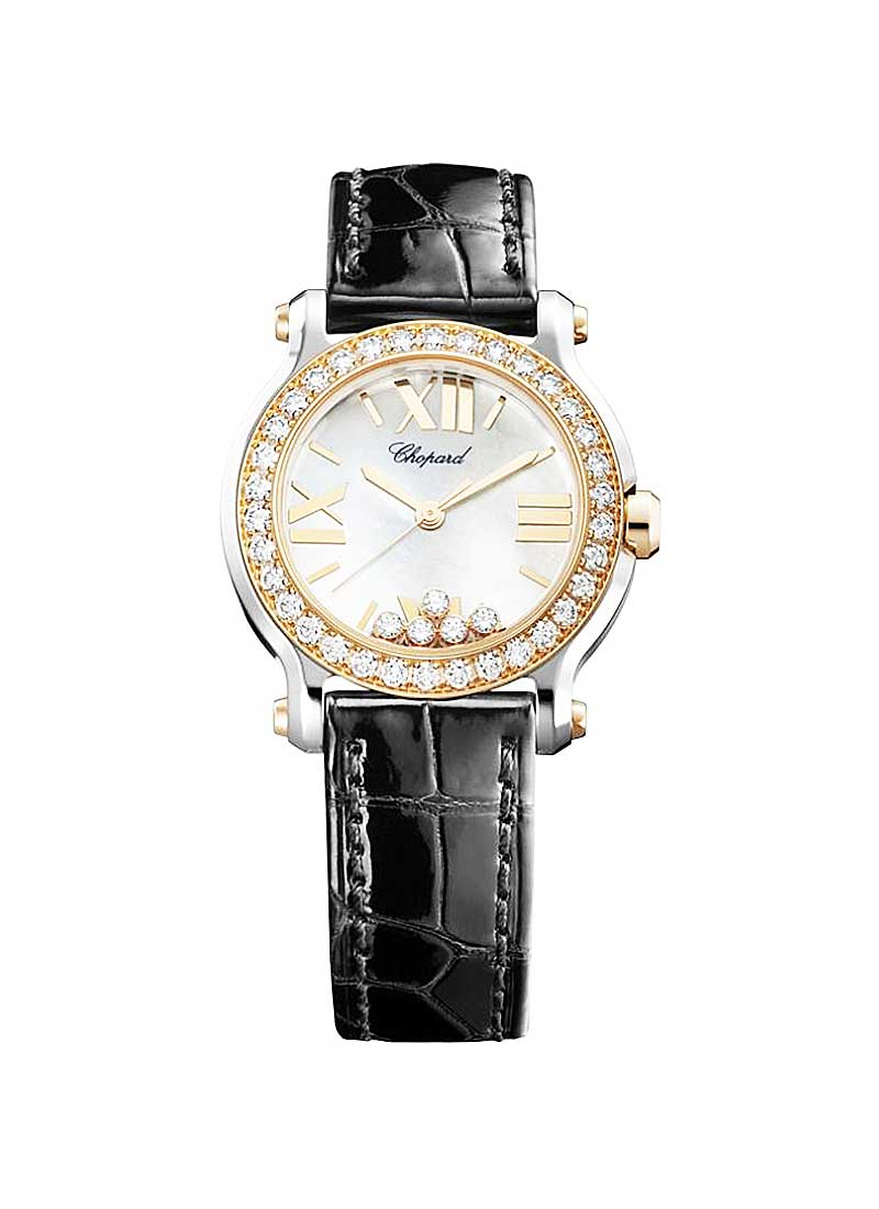 Chopard Happy Sport Round in Steel with Rose Gold Diamond Bezel