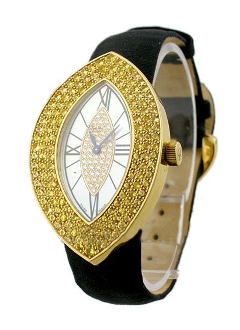 Chopard Ovale Yellow Gold   Large Lady's Size   Yellow Diamonds