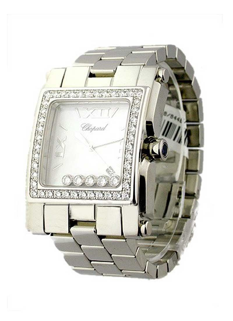 Chopard Happy Sport Square XL in White Gold with Diamond Bezel