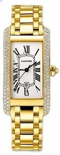 Cartier Tank Americaine Mid Size in Yellow Gold with Diamonds