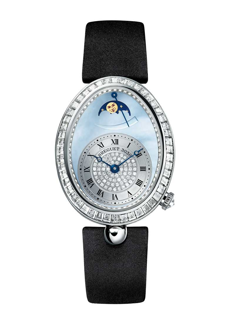 Breguet Reine de Naples Power Reserve in White Gold with Baguette Diamonds