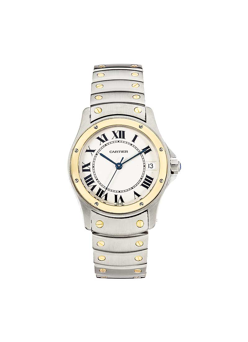 Cartier Santos Ronde 33mm in Steel with Yellow Gold Bezel