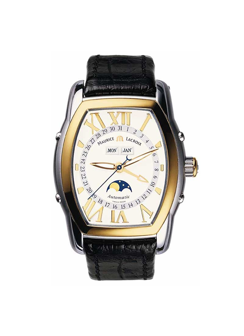 Maurice Lacroix Masterpiece Moon Phase Tonneau in Steel and Yellow Gold Bezel