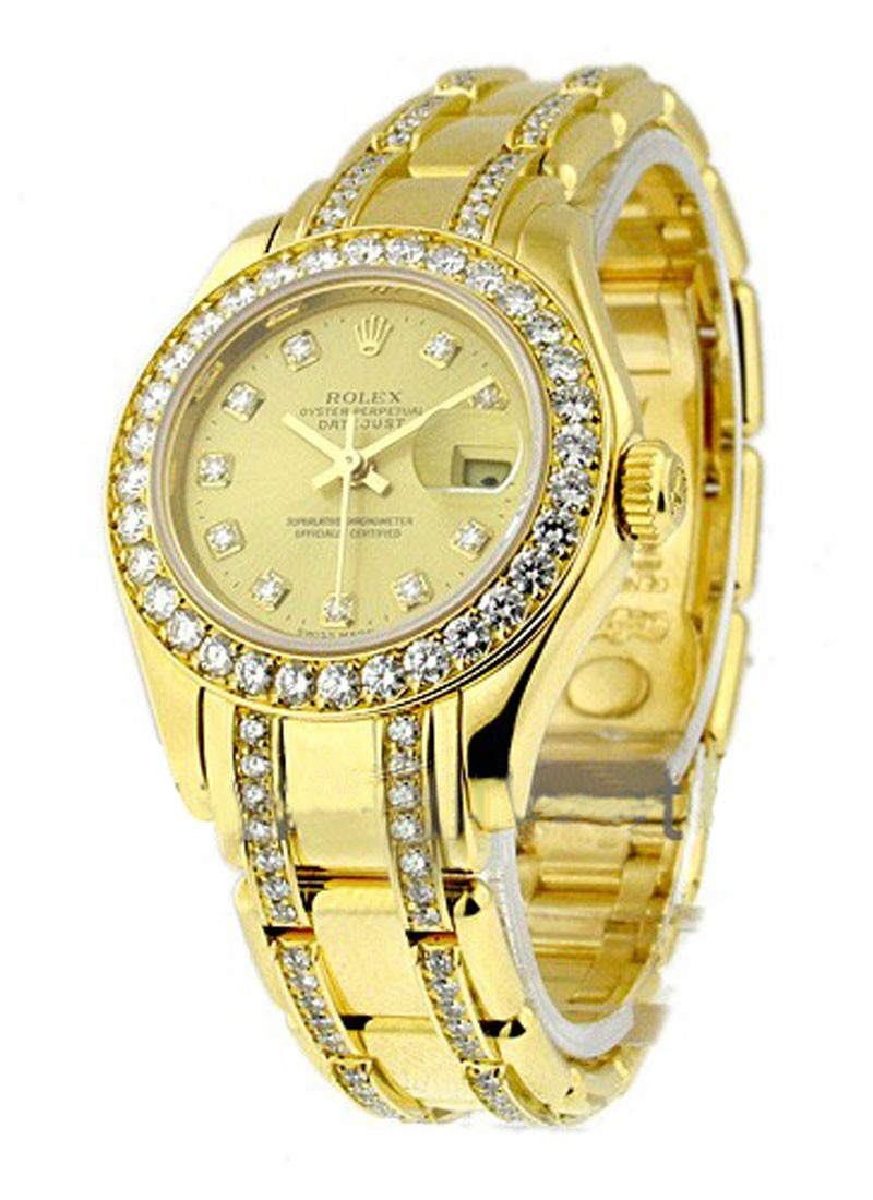 Pre-Owned Rolex Masterpiece Pearlmaster with Yellow Gold 32 Diamond Bezel