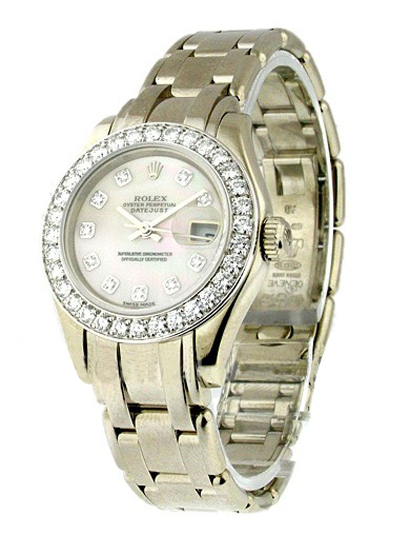Rolex Used Masterpiece Ladies in White Gold with 32 Diamond Bezel