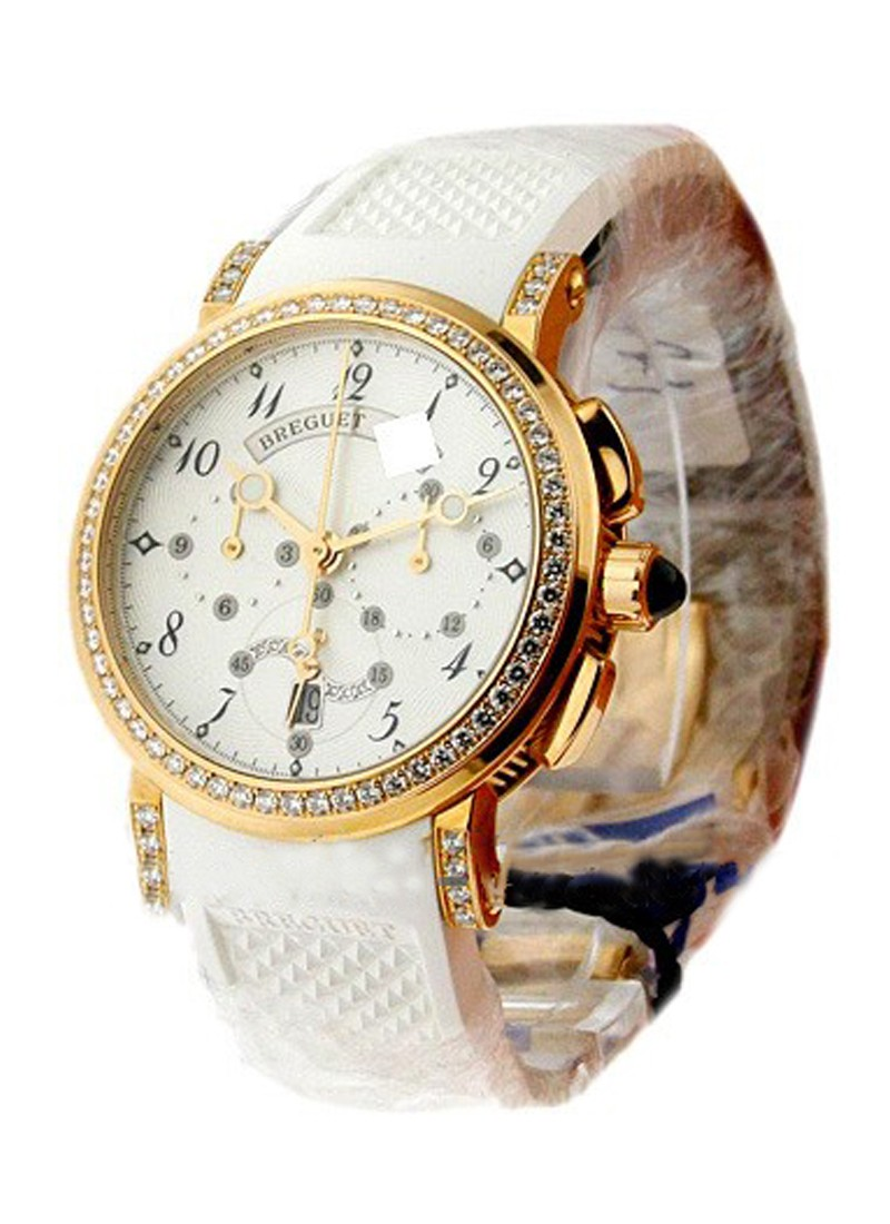 Breguet Marine Lady Chronograph 35mm Automatic in Rose Gold with Diamond Bezel & Lugs